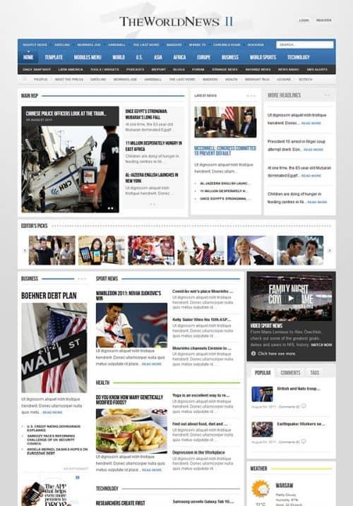 Лучшие новостные шаблоны для Joomla